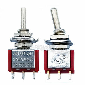 50 pcs High Quality 6 Pin DPDT ON-OFF-ON 3 Position Mini Toggle Switches MTS-203