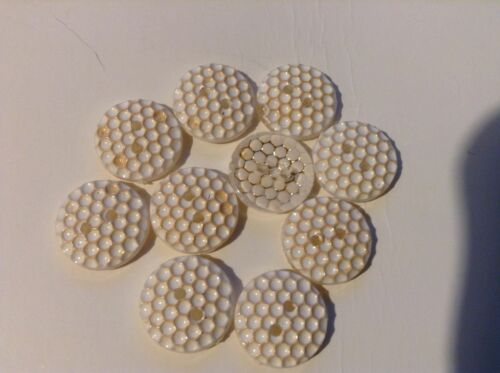 10 x 15mm oro e bianco lucido pulsanti con due fori.