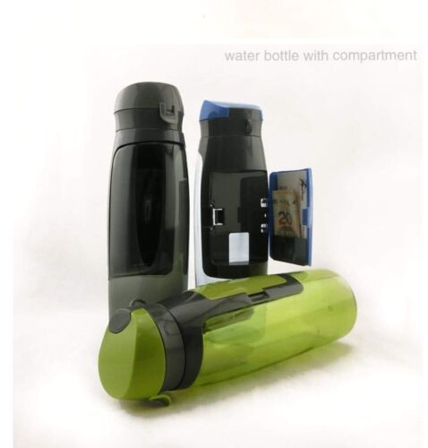 Portable Plastic Travel//sports//gym Drink Bottle With Handy Wallet Attached