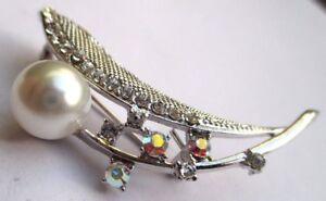 Bijou Vintage Broche Rétro Couleur Argent Perle Cristaux Diamant Boréalis 3072 Qualité Et Quantité AssuréE