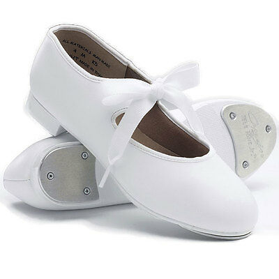 NEW//BOX TAP SHOES white JR TYETTE CHILD SIZES  Style# 625C Capezio ribbon tie