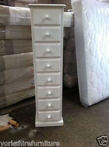Image Is Loading Handmade White Shabby Chic 8 Drawer Narrow Tall