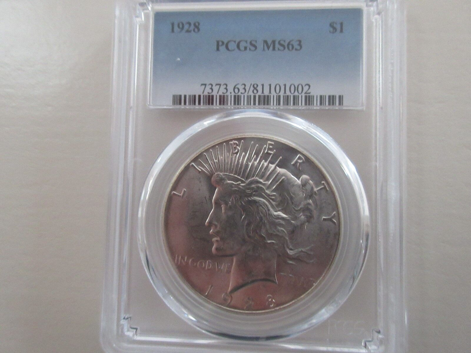 1928 , Peace Dollar , PCGS , MS63