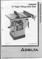 Delta Unisaw 10 Right Tilting Arbor Saw Instruction Manual