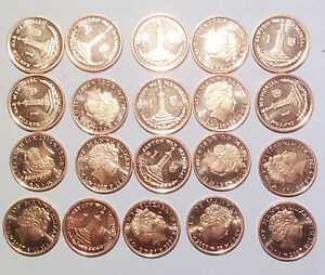 Isle-of-Man-1-penny-pence-2007-20mm-coins-lot-ALL-BU-UNC-20PCS
