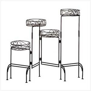 HOME-DECOR-WROUGHT-IRON-MULTI-LEVEL-FOUR-TIER-PLANT-STAND