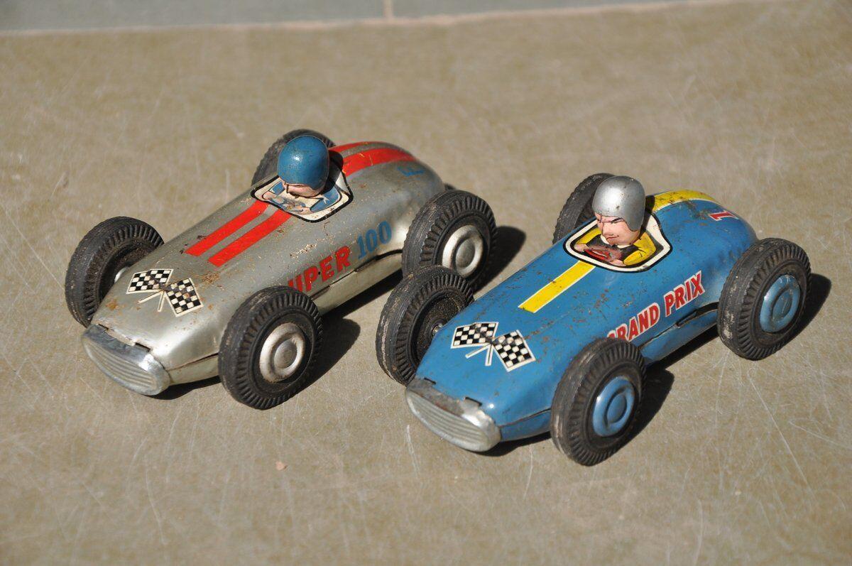 2 Pc Vintage Grand Prix 18 & Super 100 F4 Litho Sports Car Tin Toy , Japan