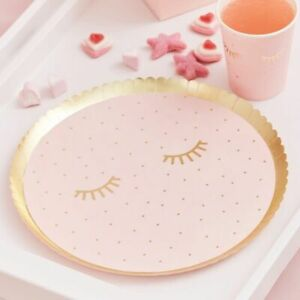 pamper-party-paper-plates-pink-gold-girls-birthday-team-bride-mothers-day