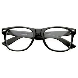 CLEAR LENS BLACK FRAME Vintage Fashion Unisex GLASSES COOL NERD GEEK