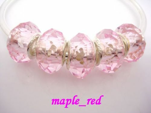 50pcs Pink Faceted Crystal Beads Fit European Charm Bracelet