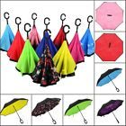 New Modern Upside Down Reverse Umbrella C-Handle Double Layer Inside-Out