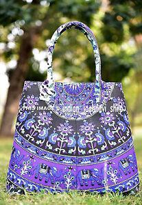 New-Women-039-s-Tote-Bag-Shoulder-Handbag-Cotton-Indian-Mandala-Print-Satchel-Purse