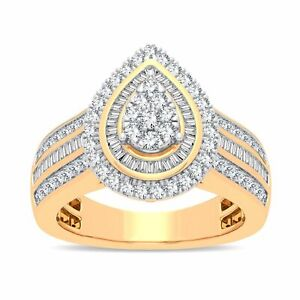 Bevilles Pear Halo Ring with 1.00ct of Diamonds in 9ct Yellow Gold