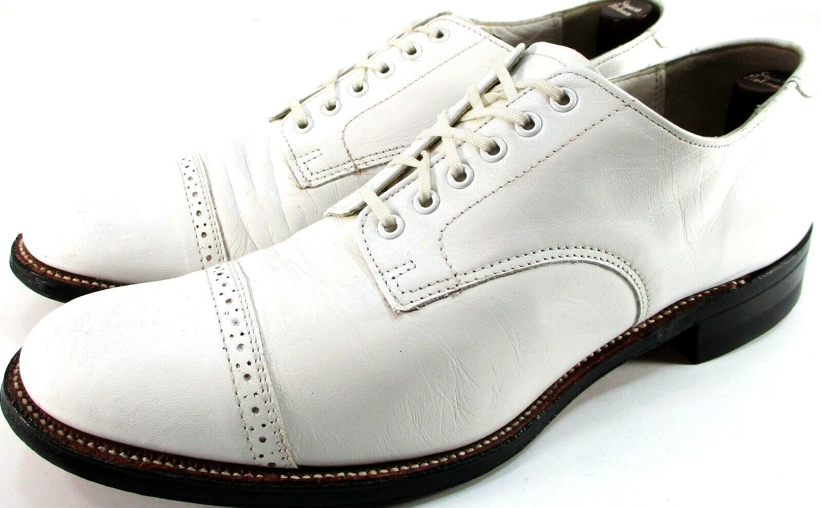 Stacy Adams Men Cap Toe Oxford shoes Size 8D White Brogue Leather Sole & Lined