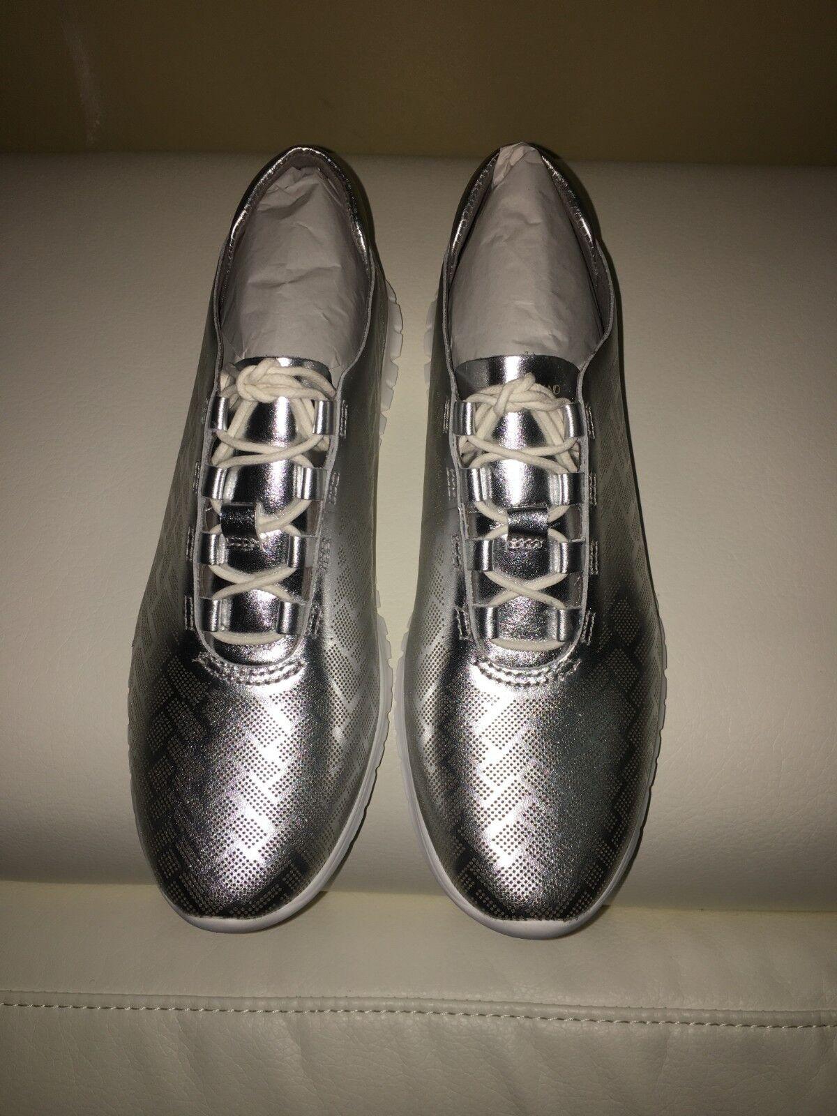NIB NIB NIB Women's Cole Haan Silver Leather Lightweight Fashion Trainers 9.5 744add