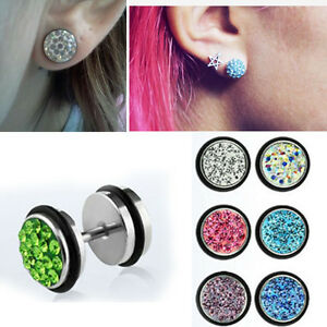 Steel-Illusion-Plugs-Ferido-Crystals-Cheater-Ear-Studs-Earrings-1-4-Pairs-2G-0G