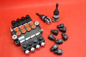 HYDRAULIC-BANK-MOTOR-4-SPOOL-VALVES-50L-MIN-ELECTRIC-12V-2-JOYSTICKS