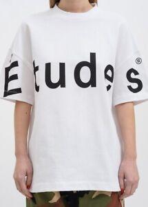 NEW-ETUDES-WHITE-BLACK-BIG-LOGO-S-S-SWEATSHIRT-T-SHIRT-SIZE-S