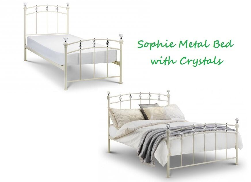 Sophie Metal Bed Frame Stone White With Crystal Finials