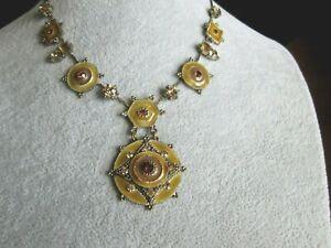 Vintage-Enamel-Sparkly-Rhinestone-Gold-Tone-Tribal-Costume-Pendant-Necklace