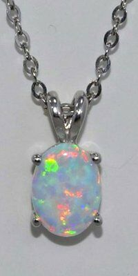 8x6mm Opal Oval Pendant .925 Sterling Silver