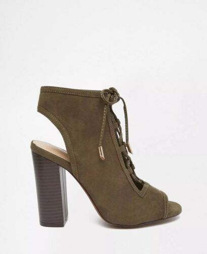 Suedette Lace Labels New With Heels Khaki Condition Women's great Up Size 4 4H4IXOqw
