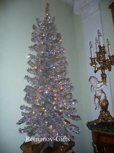 Mid Century Modern Christmas Tree.Details About Silver Irridescent Mid Century Modern Christmas Tree 4 Ft Pre Lit W 70 Clear