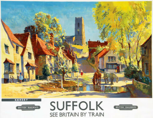 Tu49 Vintage Suffolk Kersey los ferrocarriles británicos de viajes cartel impresión A2//a3