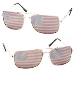 a42587286e9b Image is loading New-Patriotic-Silver-Rectangle-Aviator-Sunglasses-metal- frame-