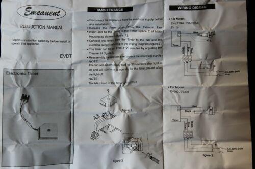 Emcovent evdt Electronic ventilateur interne minuterie pour EV4 EV4A EV6 EV6A EV200 EV300 +