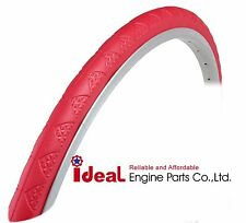 Pair Road Bicycle Solid Tires 700X24C Red Puncture Free Tubeless Tire 700X23C
