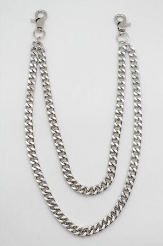 Men Silver Metal Wallet Chunky Chain Link Key Motorcycle Biker Fashion 2 Strands