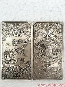 tibetan-Old-silver-tibet-Nepal-statue-Chinese-zodiac-Mouse-amulet-thangka