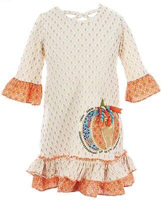 Bonnie Jean Little Girls Foil-Print Pumpkin Applique Shift Dress-Size-5 6 or 6X
