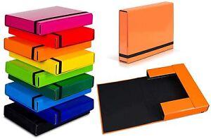 Details about A4 Caribic Files Document Box Folder Elastic Band Storage  Foolscap Cardboard