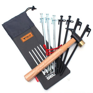 Outdoor-Camping-Tent-Accessories-Hammer-Wind-Rope-Tent-Pegs-Nail-Storage-Bag-KT