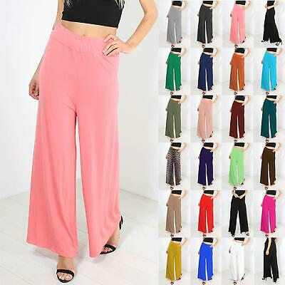 Womens Baggy Wide Legged Stretchy Trousers Pants Flared Ladies Leggings Palazzo Um Jeden Preis