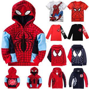 Kids-Boys-Spiderman-Hoodies-Hooded-Tops-T-Shirt-Sweatshirt-Zip-Up-Jacket-Coat