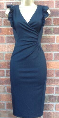 50s vintage style rétro Côté Froncé Crayon la robe en jersey noir 8-18