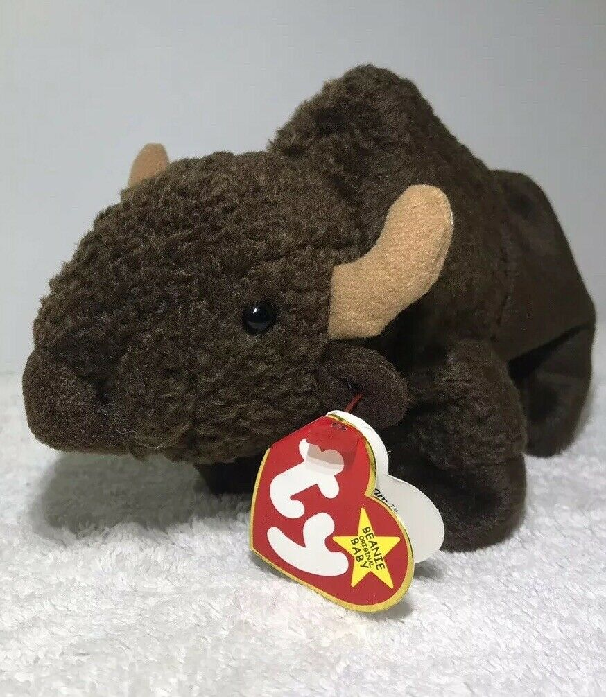 Ty Vintage Beanie Babies Roam Brown Buffalo Bison 1998 With Tag Mint Error