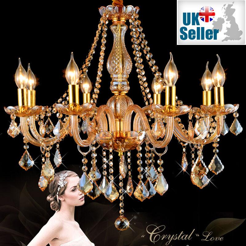 Genuine K9 Crystal Chandelier AMBER GoldEN 6, 8, 10 Arms Candle Pendant Lamp