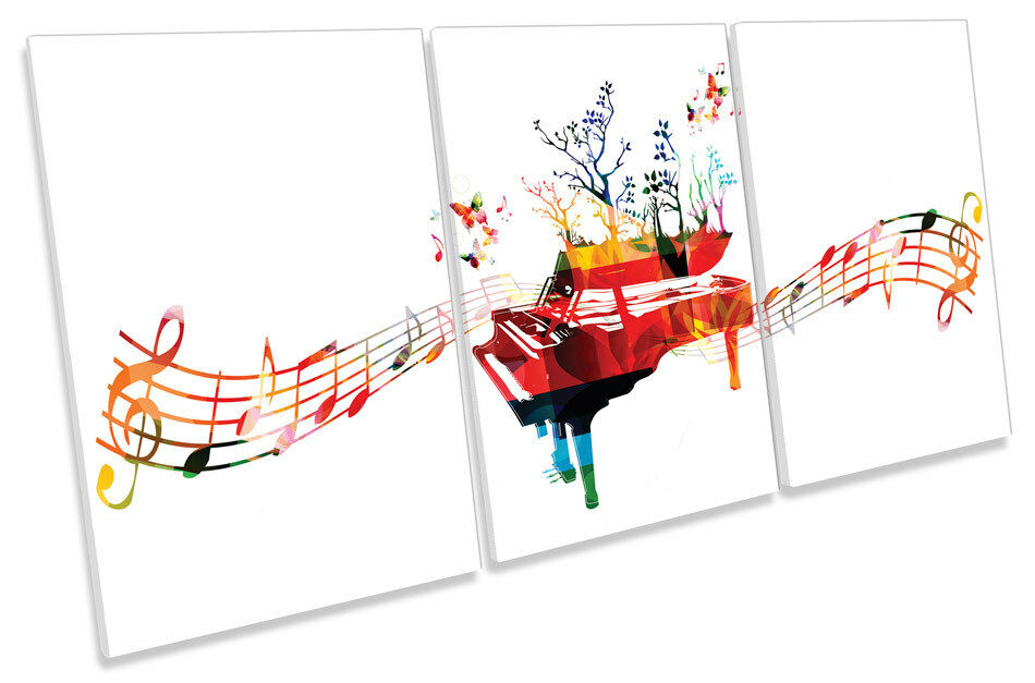 Abstract Piano Music Notes  CANVAS WALL ART TRIPLE Print Picture