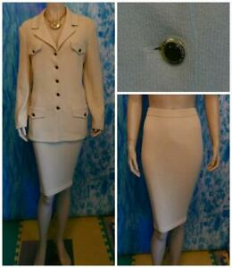 St John Collection Knit Yellow Jacket Skirt L 12 14 2pc Suit Gold Buttons Collar