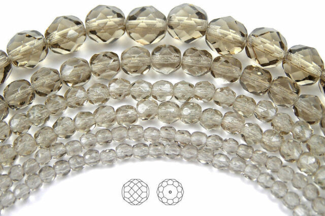 10 Black Diamond Firepolished Glass Faceted Round Beads 8MM