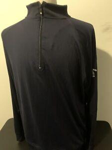 FootJoy-Quart-Fermeture-Eclair-Golf-pullover-bleu-fonce-a-manches-longues-en-Nylon-Spandex-XL-neuf