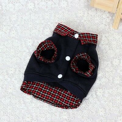 Dog Cat Grid Sweater Puppy Warm Coat T-Shirt Pet Clothes POLO Shirt Dog Apparel