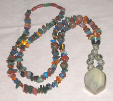 Santa Fe Semi Precious Gemstones - Sterling Bezel Set Shell Pendant Necklace