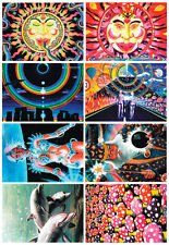 8 POSTCARDS UV-Blacklight Fluorescent Glow-In-The-Dark Psychedelic Psy Goa Art