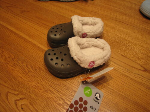 child/'s unisex C6//C7 mammoth kids COMFORT CLOGS slip on brown fuzzy shoes roomy