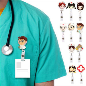Retractable-Badge-Reel-Nurse-Exhibiton-ID-Name-Card-Badge-Holder-Cartoon-Clips